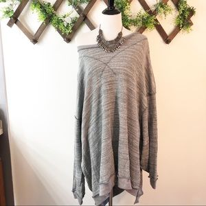Free People | Heather Grey Oversized Sweater Tunic